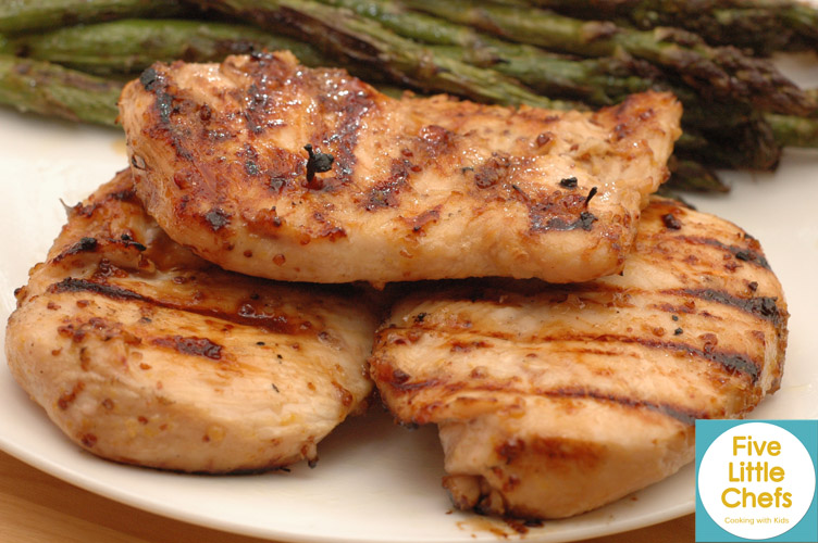Honey Mustard Grilled Chicken from fivelittlechefs.com