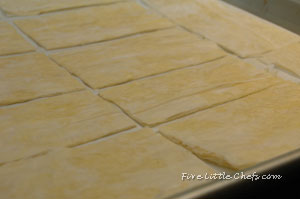 filo dough ready to bake