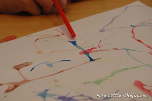 Create art by blowing paint through a straw at fivelittlechefs.com Supplies are basic; paper, water; paint, drinking straw, brush. #kids crafts #art