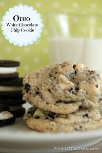 Oreo White Chocolate Cookie Recipe from fivelittlechefs.com #oreo #chocolate #recipe