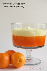 Mandrin Orange Jello with Lemon Pudding by fivelittlechefs.com at yummy #jello #recipe that is perfect for your #easter #celebration!