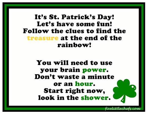 st patick day scavenger hunt