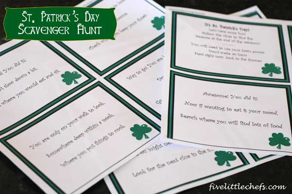 st patrick day scavenger hunt clues