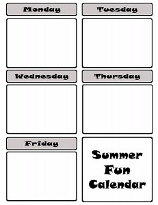Summer Calendar from fivelittlechefs.com Is a printable calendar with seven pages of ideas for your kids to choose. #summer calendar #printable #kidscrafts