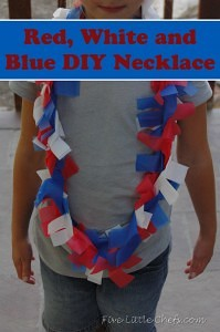 Red, white and blue DIY necklace from fivelittlechefs.com