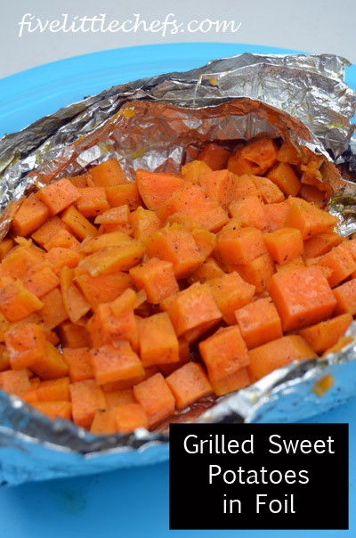 Grilled Sweet Potatoes in foil from fivelittlechefs.com is a fun way to cook perfectly soft sweet potatoes. #grilledsweetpotatoes #kidscooking #recipe