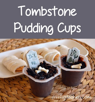 Tombstone Pudding Cups from fivelittlechefs.com #tombstone #halloween