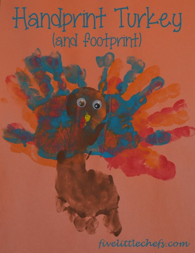 Handprint Turkey from fivelittlechefs.com is a fun way to make a turkey using your hands and foot with a little paint. #turkeycraftsforkids #kidscrafts
