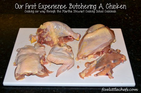 Our first attempt at fivelittlechefs.com cutting up a chicken by following Martha Stewart's instructions for #cookingschool. #kidscooking #chicken
