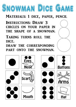 snowman dice game printable