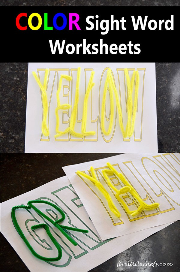 Color Sight Word Worksheets for Kids