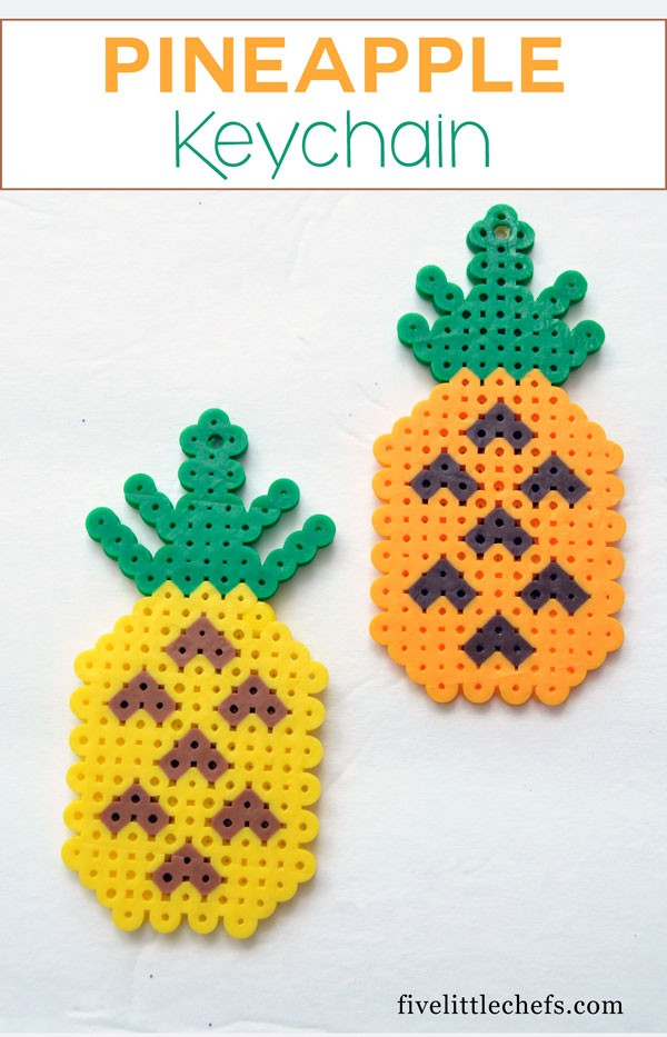 DIY Pineapple keychains for keys or backpacks or gifts. This is one of those kids crafts that keeps their attention until completion.