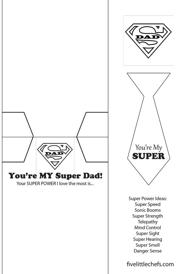 Super Dad DIY Father's Day card is easy to put together with a printable and minimal supplies. Kids crafts don't need to be hard.