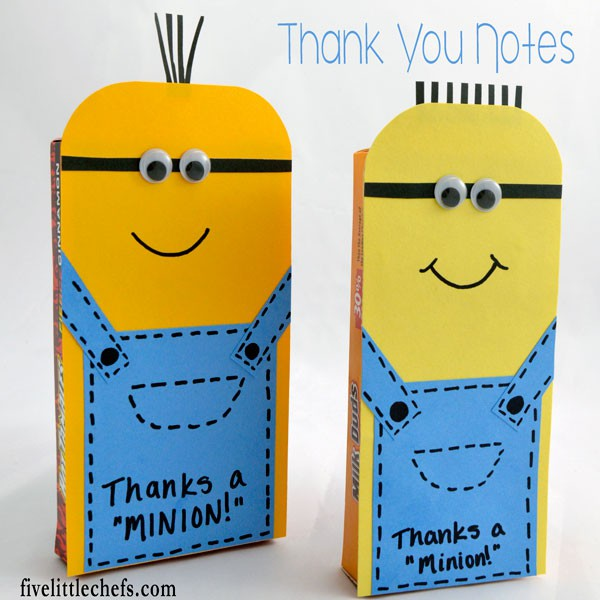 Thank you notes from kids or adults are always welcome. This DIY craft uses a movie theater box of candy which is disguisted as fun minions using paper.