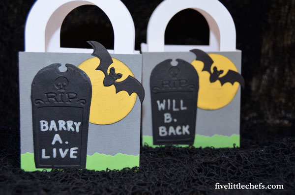 These cute DIY tombstone halloween party favors are easy to make and add onto dollar store favor boxes. Use this as a craft at your school's halloween party
