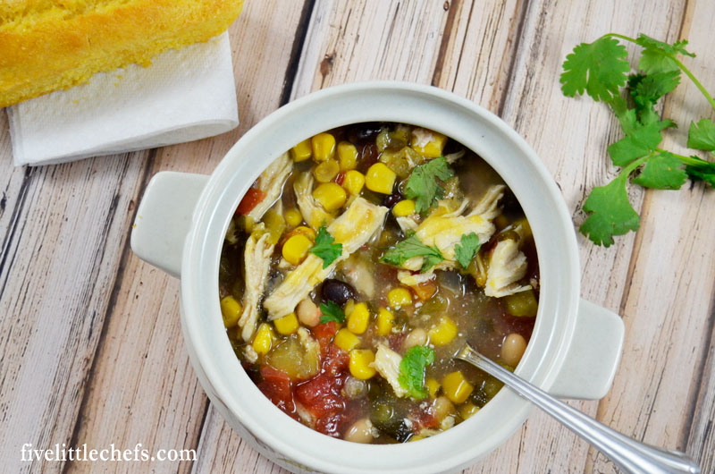 The ingredients for Crock Pot White Chicken Chili are common and might be already in your pantry. Comfort food for dinner is the best.