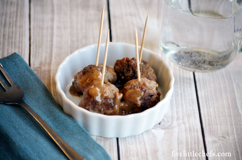 This swedish meatball recipe is a favorite easy appetizer! Form into mini meatballs and serve on toothpicks smothered in a delicious sauce made from the pan drippings.