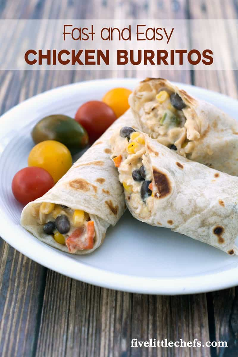 Easy chicken burritos recipe is made with frozen vegetables from the freezer, shredded cheese and rotisserie chicken. This recipe can be completed easily within 15 minutes.